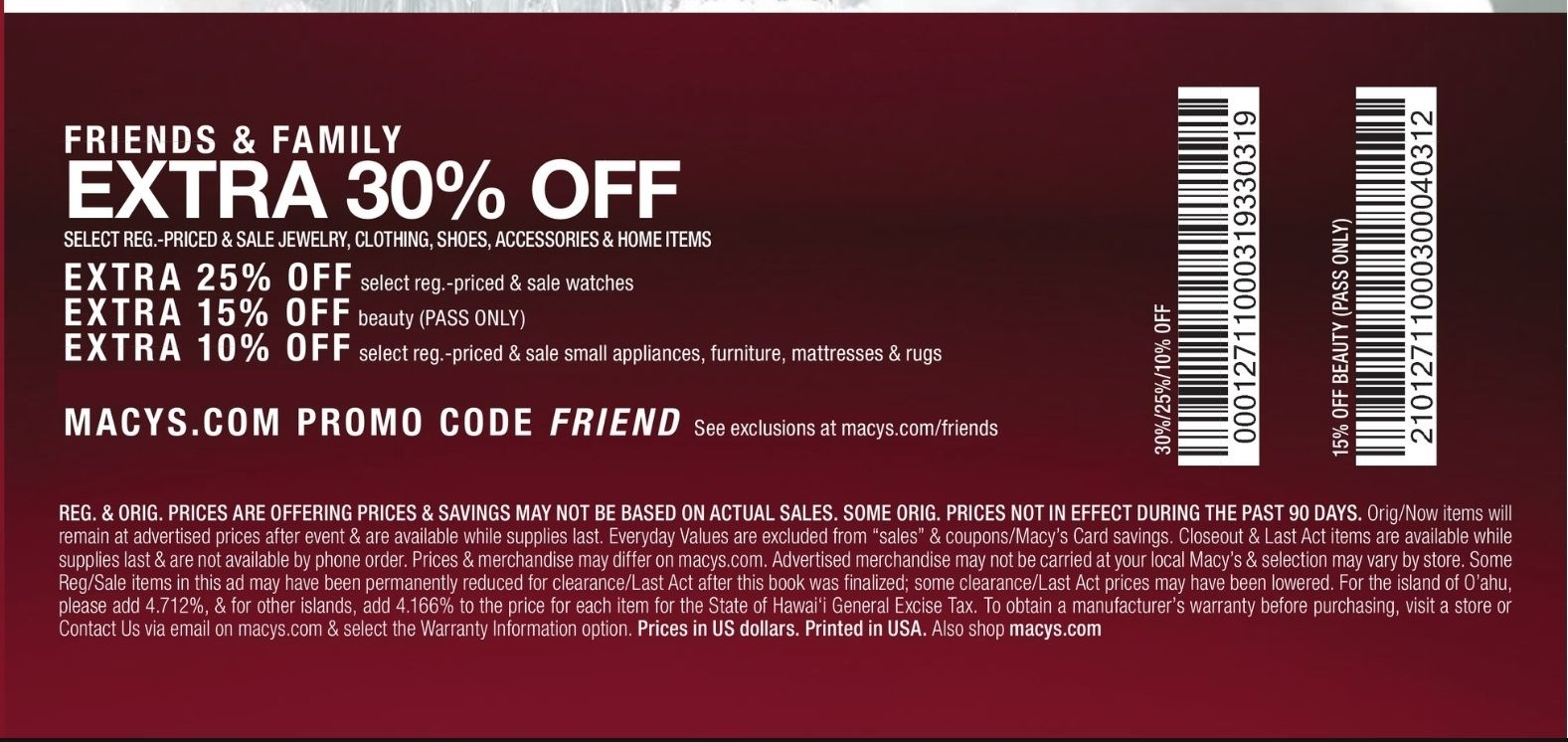Macy's Instore Coupons